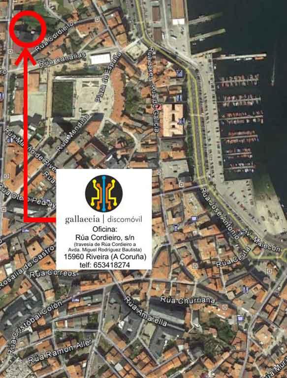mapa de localización de las oficinas de Gallaecia Discomóvil, dj para bodas, fiestas y eventos